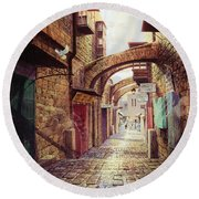 The Road To The Cross  Jerusalem Round Beach Towel by Graham Braddock