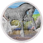 The Sea Horse Round Beach Towel by Betsy Knapp
