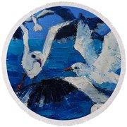The Seagulls Round Beach Towel by Mona Edulesco