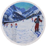 The Ski Instructor Round Beach Towel by Andrew Macara