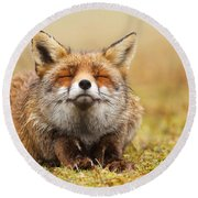 The Smiling Fox Round Beach Towel by Roeselien Raimond