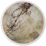 The Spider And The Fly Round Beach Towel by Arthur Rackham