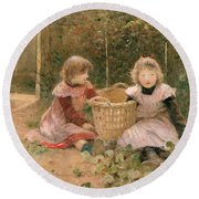 The Strawberry Patch Round Beach Towel by Hector Caffieri