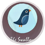 The Swallow Cute Portrait Round Beach Towel by Florian Rodarte