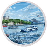 The Tower Of London Round Beach Towel by Steve Crisp
