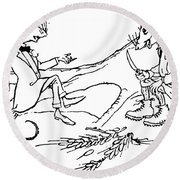 The Town Mouse And The Country Mouse Round Beach Towel by Arthur Rackham