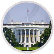 The Whitehouse - Washington Dc Round Beach Towel by Bill Cannon