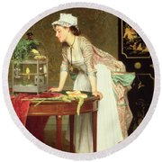 The Yellow Canaries Round Beach Towel by Joseph Caraud