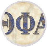 Theta Phi Alpha - Parchment Round Beach Towel by Stephen Younts