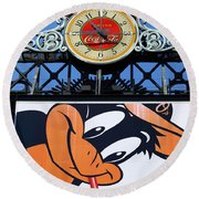 Thirsty Oriole Round Beach Towel by James Brunker