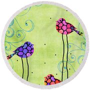 Three Birds - Spring Art By Sharon Cummings Round Beach Towel by Sharon Cummings