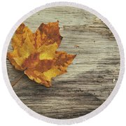 Three Leaves Round Beach Towel by Scott Norris