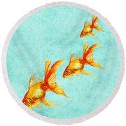 Three Little Fishes Round Beach Towel by Jane Schnetlage
