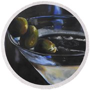 Three Olive Martini Round Beach Towel by Donna Tuten