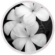 Three Plumeria Flowers In Black And White Round Beach Towel by Sabrina L Ryan
