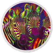 Three Rainbow Zebras Round Beach Towel by Jane Schnetlage