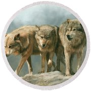 Three Wolves Round Beach Towel by David Stribbling