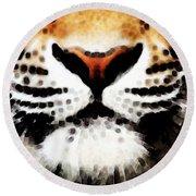 Tiger Art - Burning Bright Round Beach Towel by Sharon Cummings
