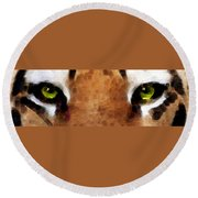 Tiger Art - Hungry Eyes Round Beach Towel by Sharon Cummings