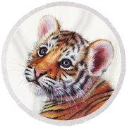 Tiger Cub Watercolor Painting Round Beach Towel by Olga Shvartsur