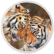 Tiger Love Round Beach Towel by David Stribbling