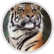 Tiger Painting Round Beach Towel by Rachel Stribbling