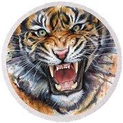 Tiger Watercolor Portrait Round Beach Towel by Olga Shvartsur