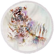 Tiger With Cub Watercolor Round Beach Towel by Marian Voicu