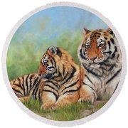 Tigers Round Beach Towel by David Stribbling