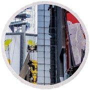 Times Square Window Washers Round Beach Towel by Jon Woodhams