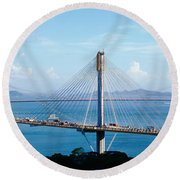 Ting Kaw & Tsing Ma Bridge Hong Kong Round Beach Towel by Panoramic Images