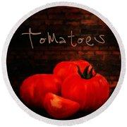 Tomatoes II Round Beach Towel by Lourry Legarde