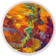 Topwater Trout Abstract Tour Study Round Beach Towel by Savlen Art