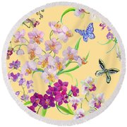 Tossed Orchids Round Beach Towel by Kimberly McSparran