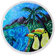 Toucan Bay Round Beach Towel by Sarah Loft
