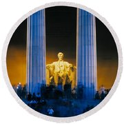 Tourists At Lincoln Memorial Round Beach Towel by Panoramic Images