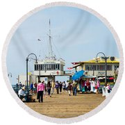 Tourists On Santa Monica Pier, Santa Round Beach Towel by Panoramic Images