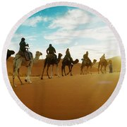 Tourists Riding Camels Round Beach Towel by Panoramic Images