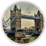 Tower Bridge On The River Thames Round Beach Towel by Heather Applegate