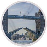 Tower Bridge Opened Round Beach Towel by Chris Thaxter