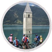 Round Beach Towel featuring the photograph Tower In The Lake by Travel Pics