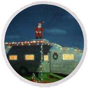 Trailer House Christmas Round Beach Towel by James W Johnson