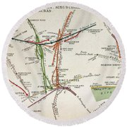Transport Map Of London Round Beach Towel by English School