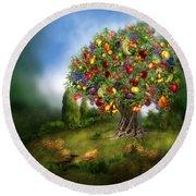Tree Of Abundance Round Beach Towel by Carol Cavalaris