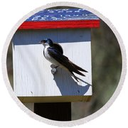 Tree Swallow Home Round Beach Towel by Mike  Dawson