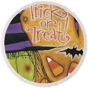Trick Or Treat Round Beach Towel by Anne Tavoletti