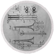 Trombone Patent Drawing Round Beach Towel by Dan Sproul