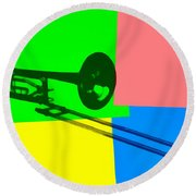 Trombone Pop Art Round Beach Towel by Dan Sproul