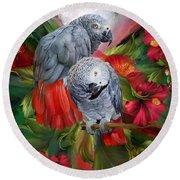 Tropic Spirits - African Greys Round Beach Towel by Carol Cavalaris