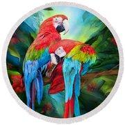 Tropic Spirits - Macaws Round Beach Towel by Carol Cavalaris